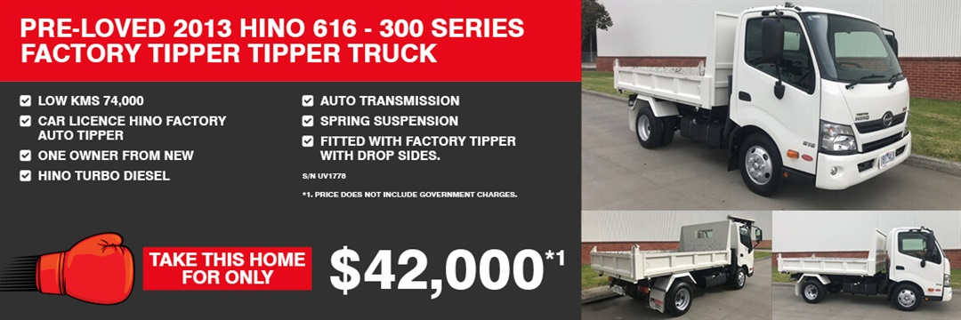 2013 Hino 616 - 300 Series Factory Tipper Trick